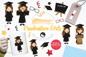 Graduation Girls illustration pack