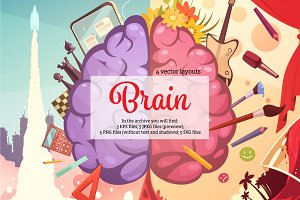 Brain Cartoon Set