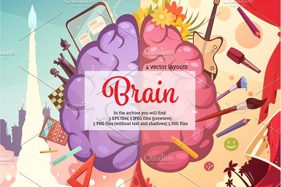 Brain Cartoon Set