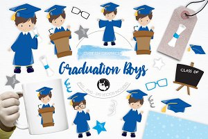 Graduation Boys illustration pack