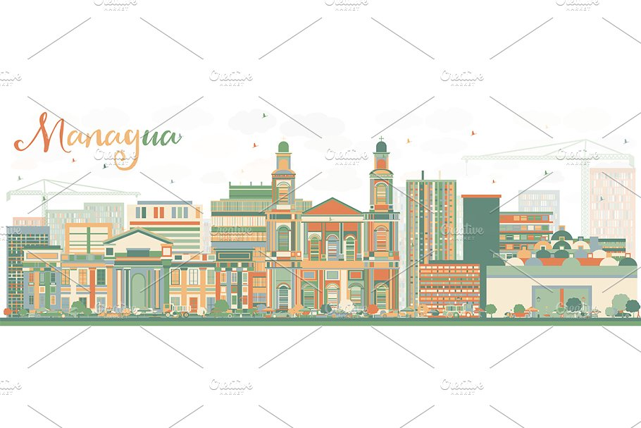 Abstract Managua Skyline in Illustrations - product preview 8