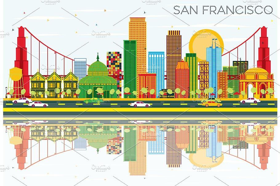 San Francisco Skyline in Illustrations - product preview 8