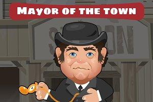 Cartoon character in Wild West