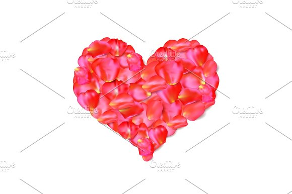 Heart Shape Of Red Petals Vector