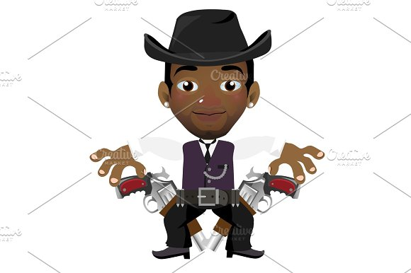 Black Man With Hat And Gun
