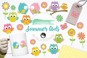 Summer Owls illustration pack