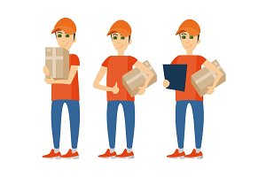 People Delivery courier person set