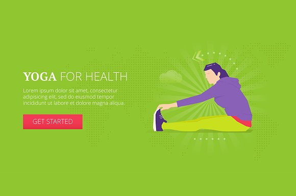 Yoga For Health Web Banner Elements Creative Market