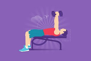 Dumbbell Bench flat illustration