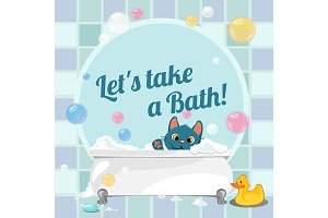 Cartoon kitten taking a bath