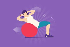Exercise ball flat illustration