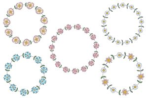 Simple cute flower wreaths clipart