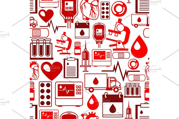 Seamless Pattern With Blood Donation Items Medical And Health Care Objects