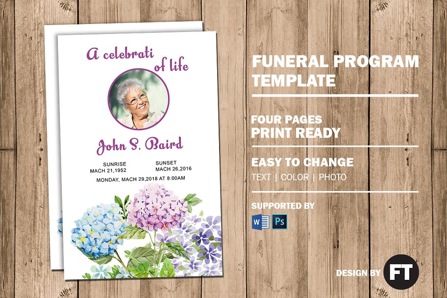 Flower Funeral Program Template Brochure Templates Creative Market