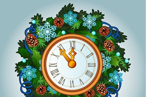 Clock and snowman, Christmas decor