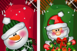 Snowman, Santa Claus and toy soldier