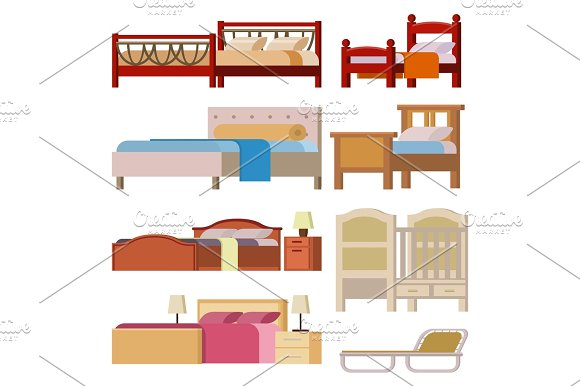 Vector Bed Icon Set Interior Home Rest Collection Sleep Furniture Comfortable Night Illustration