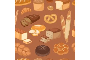 Baton bread seamless pattern cartoon vector illustration of graphic loaf snack wheat bakery design.