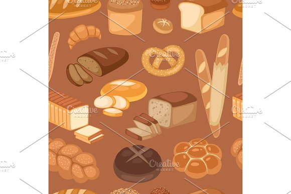 Baton Bread Seamless Pattern Cartoon Vector Illustration Of Graphic Loaf Snack Wheat Bakery Design