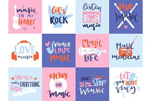 Music love motivation lables badges karaoke related vintage design elements vector illustration.