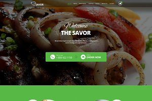 Savor-One Page Restaurant Theme