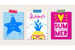 Set of three vector summer cards