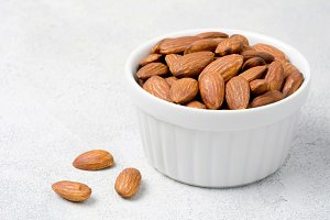 Organic almonds in bowl