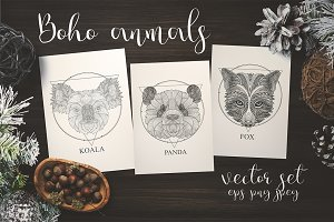 Boho animals set