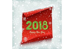 Happy New Year 2018. Red, paper banner.