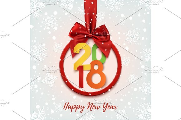 happy new year 2018 colorful round banner objects