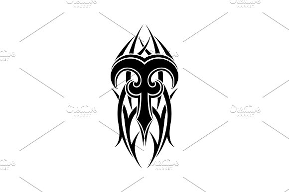 Aries Zodiac Abstract Tribal Tattoo Design