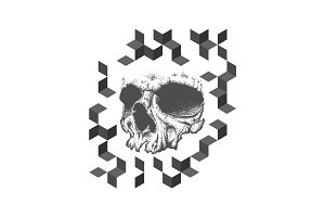 Abstract dotwork grunge skull tattoo design.