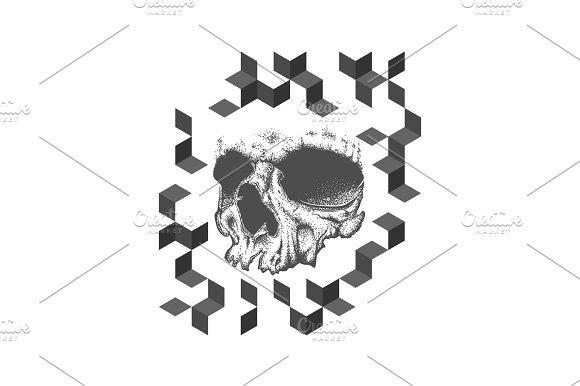 Abstract Dotwork Grunge Skull Tattoo Design