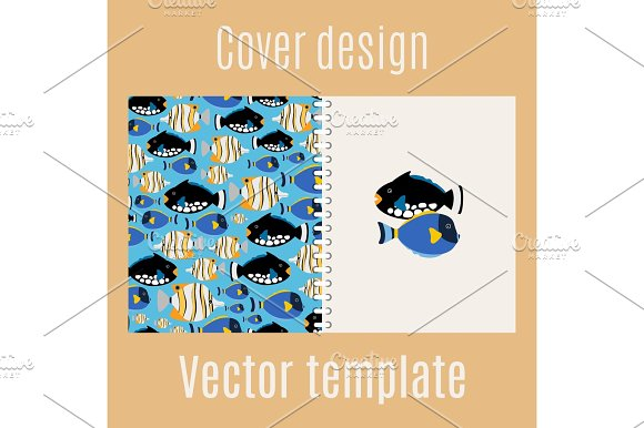Cover design with sea fish pattern