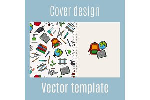 School supply elements pattern cover design