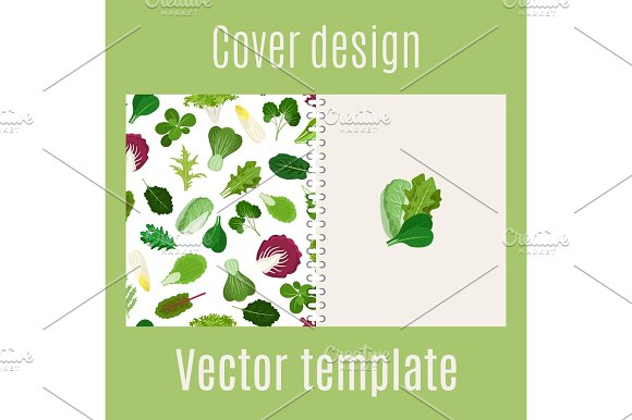 Cover design with salad leaves pattern