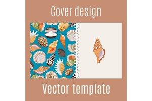 Realistic sea shell pattern cover design