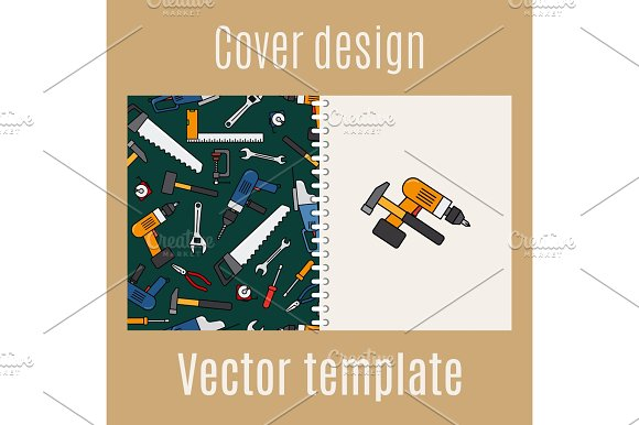 Cover design with constraction tools pattern in Illustrations