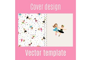 Ballerina and confetti pattern cover design