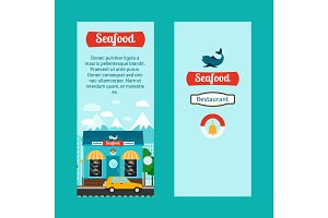 Seafood vertical flyers with shop building