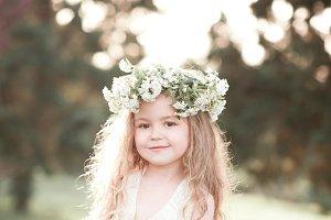 Smiling kid girl outdoors