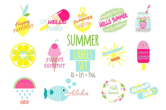 Summer Labels Set Vector
