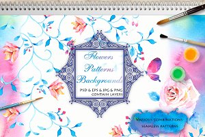 Watercolour Flowers Clip Art