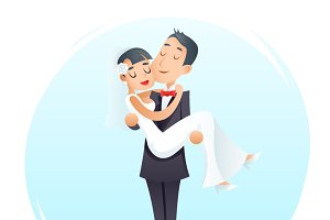 Groom Holds Cute Bride