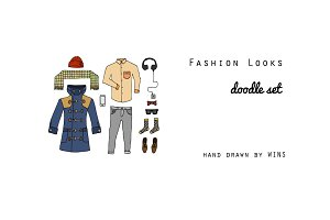 Fashion trendy looks Doodle Set