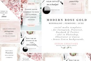 Rose Gold Social Media Templates