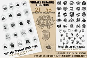 Set of heraldic vintage elements