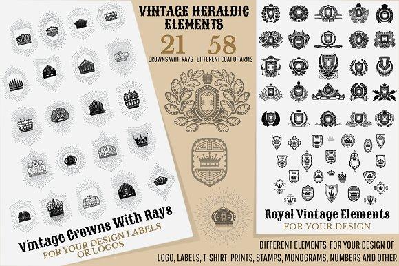 Set Of Heraldic Vintage Elements
