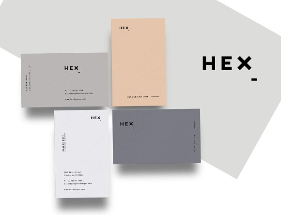HEX Business Card Template Business Card Templates Creative Market - Ups business card template