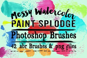 Messy Watercolor Splodge PS Brushes